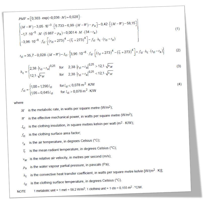 ISO 7730 standard formula for caculating PMV