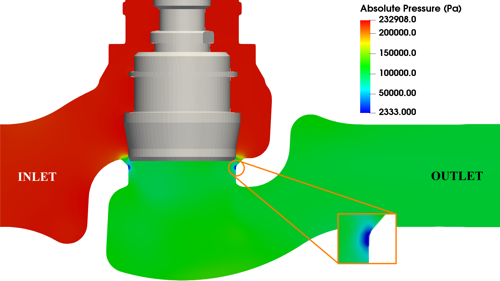 Valve cavitation CFD - outlet pressure 1 bar
