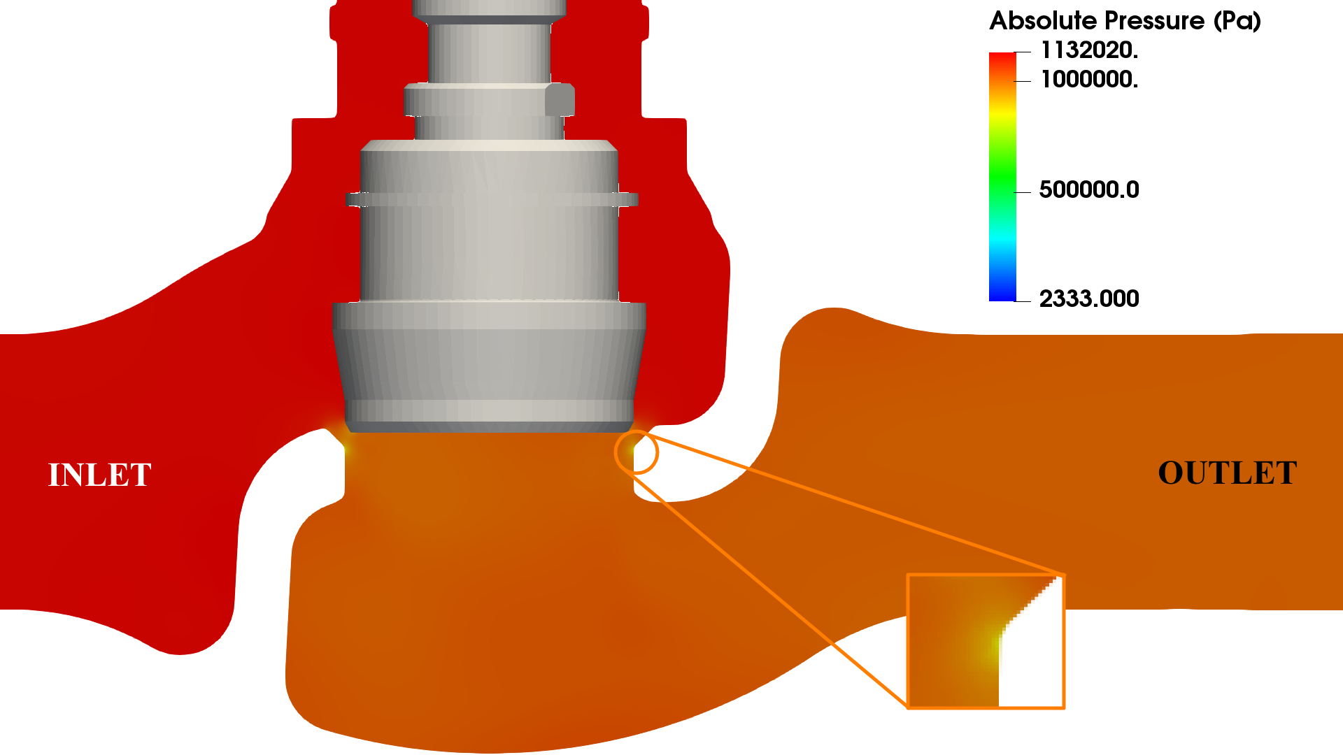 Valve cavitation CFD - outlet pressure 10 bar