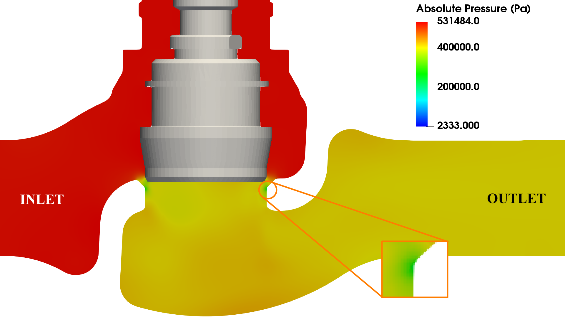 Valve cavitation CFD - outlet pressure 3 bar