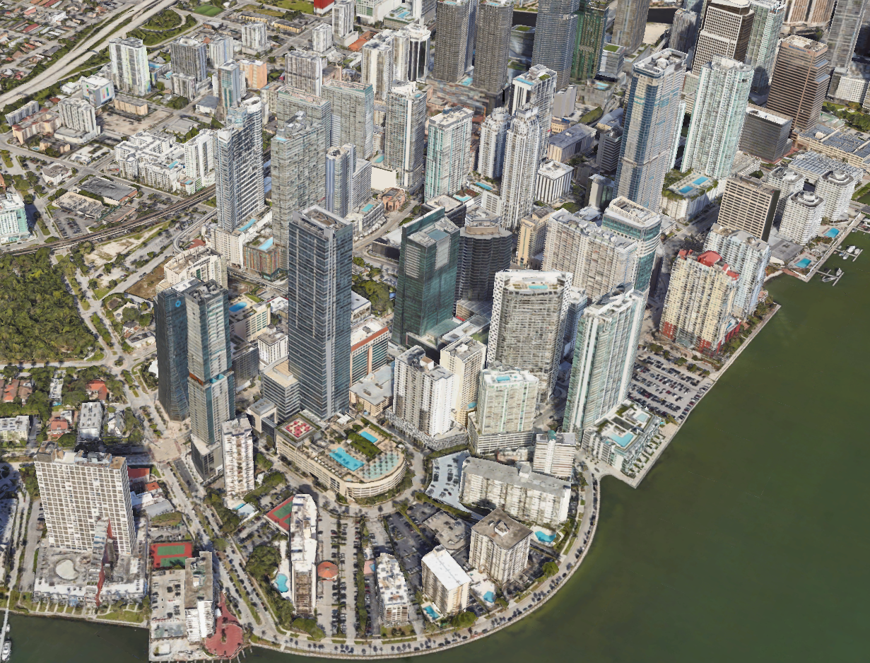 Aerial view of the Brickell City Centre (Source: Google Earth)