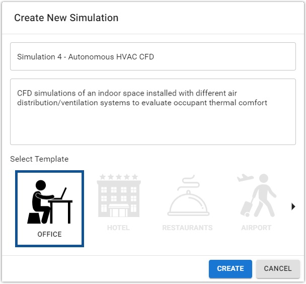 Create new simulation dialog box