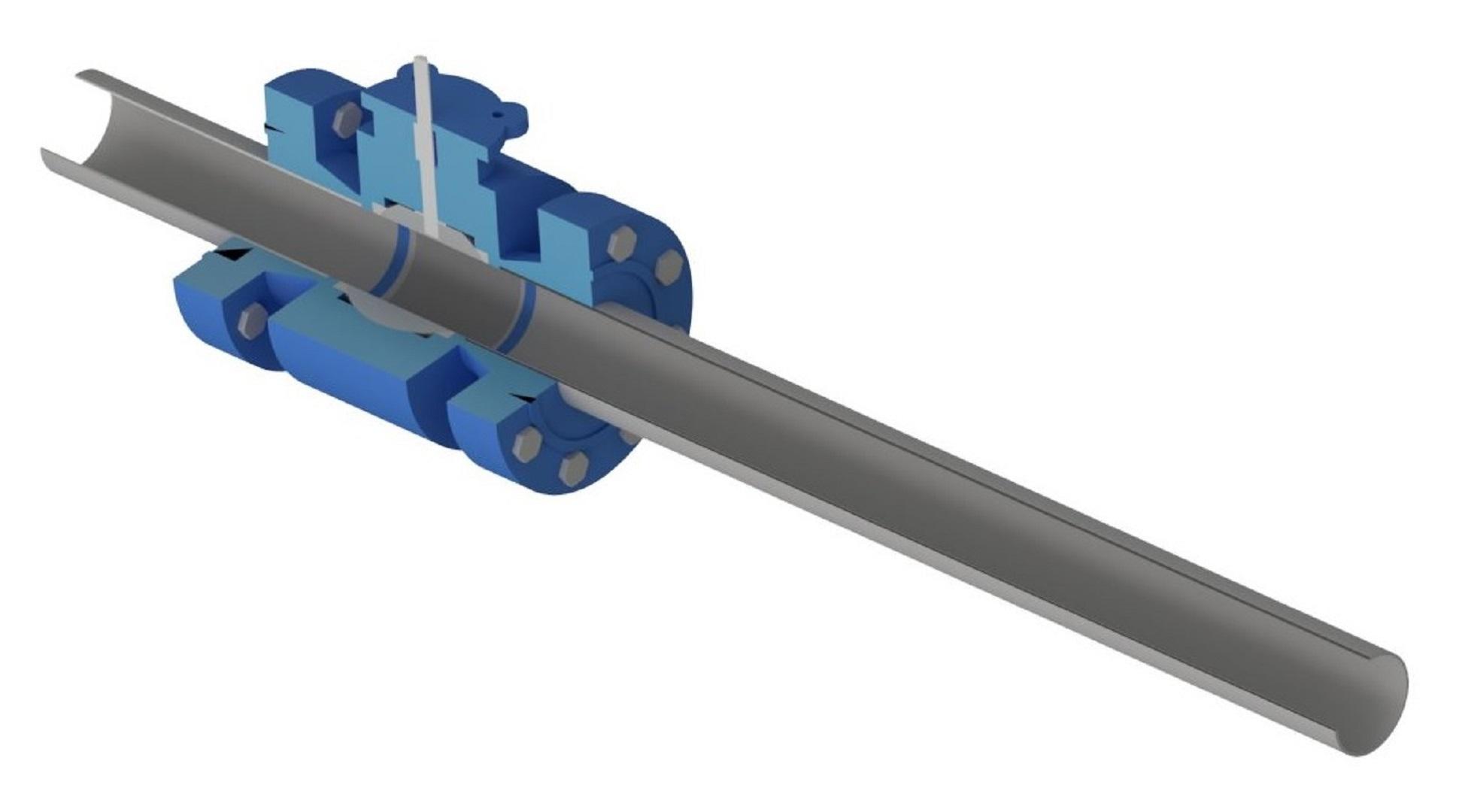 Full port ball valve at full opening