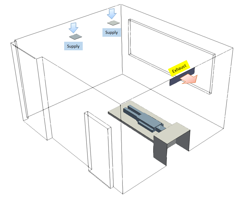 Isolation Room Exhaust Configuration Case 2
