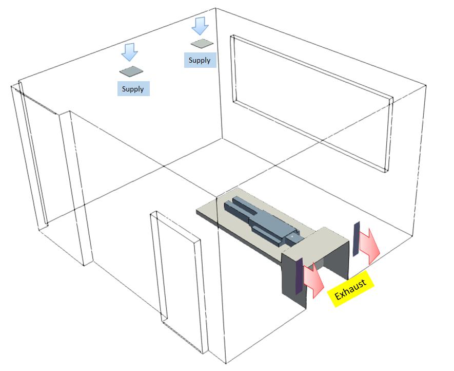 Isolation Room Exhaust Configuration Case 3